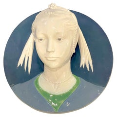 Della Robbia Style Sculpted Portrait Plaque of Jeweled Maiden, by Cantagalli