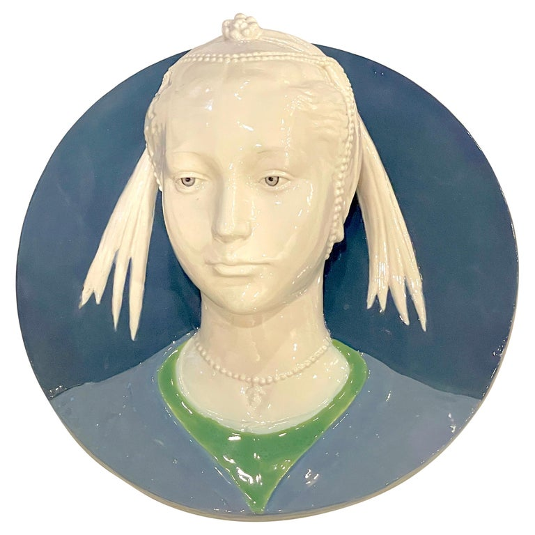 Della Robbia Style Sculpted Portrait Plaque of Jeweled Maiden, by Cantagalli For Sale