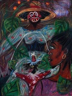 """""""Circus Dreams...Muted Screams,"""" original pastel drawing by Della Wells"""