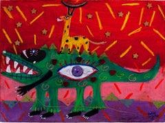 """Green Rhythms, Melon Dreams,"" Pastel on paper signed by Della Wells"