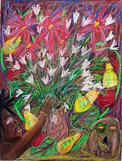 """In Darkness Grasp...Flowers Bloom,"" original pastel drawing by Della Wells"