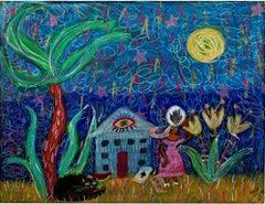 """Magic,"" original pastel and pencil drawing by Della Wells"