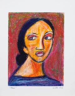 """Marie,"" Oil Pastel Portrait Drawing signed by Della Wells"