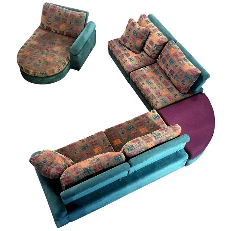 Dellarobbia Teal Microsuede Sectional Sofa Lounge Chairs and Chaise For Sale