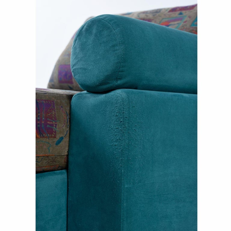 Dellarobbia Teal Microsuede Sectional Sofa Lounge Chairs and Chaise For Sale 8