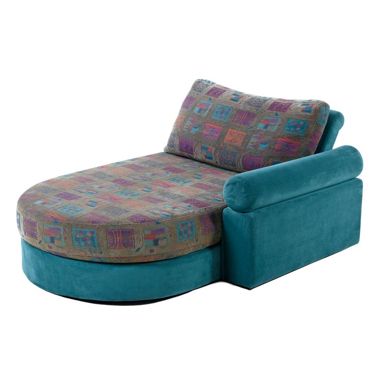 Modern Dellarobbia Teal Microsuede Sectional Sofa Lounge Chairs and Chaise For Sale