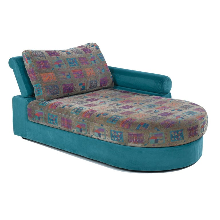 American Dellarobbia Teal Microsuede Sectional Sofa Lounge Chairs and Chaise For Sale