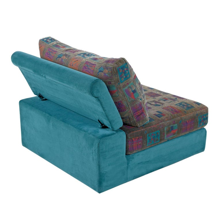 Dellarobbia Teal Microsuede Sectional Sofa Lounge Chairs and Chaise In Good Condition For Sale In Chattanooga, TN