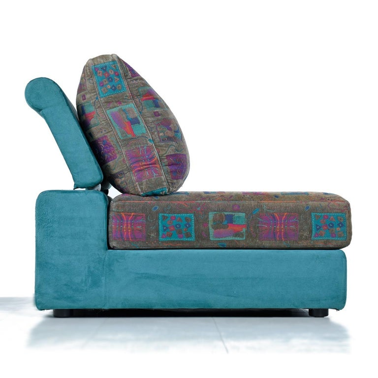 Contemporary Dellarobbia Teal Microsuede Sectional Sofa Lounge Chairs and Chaise For Sale