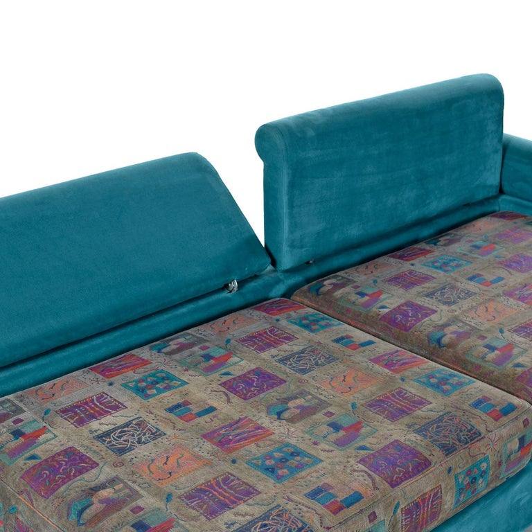 Dellarobbia Teal Microsuede Sectional Sofa Lounge Chairs and Chaise For Sale 2