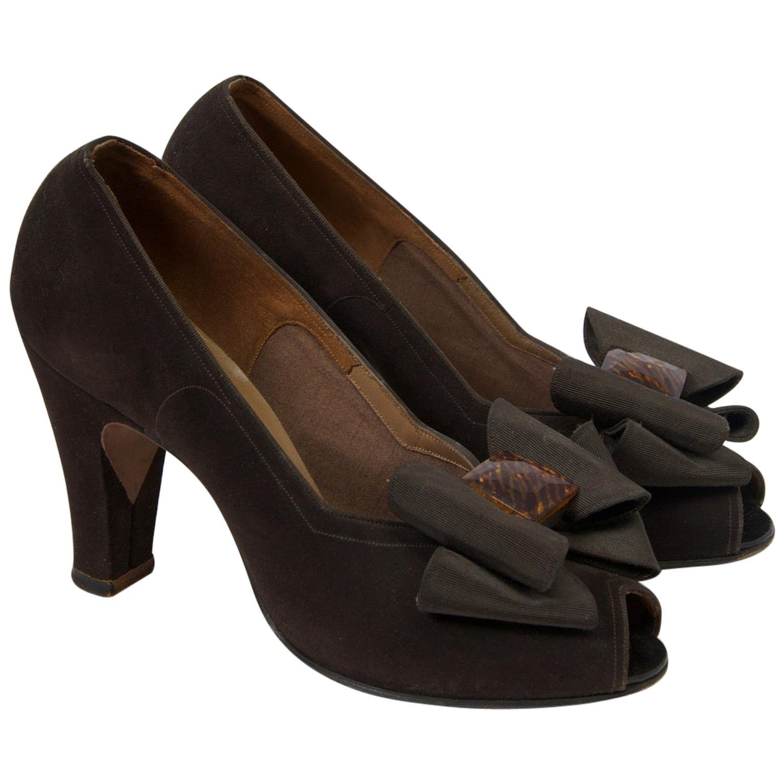 Delman Brown Suede Open-Toe Shoes, c.1950