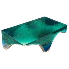 Delmare Coffee Table - by Eduard Locota. Green-Turquoise Acrylic Glass & Marble