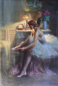 Femme Portant des Bas-19th Century Oil, Ballerina figure in Interior by Enjolras