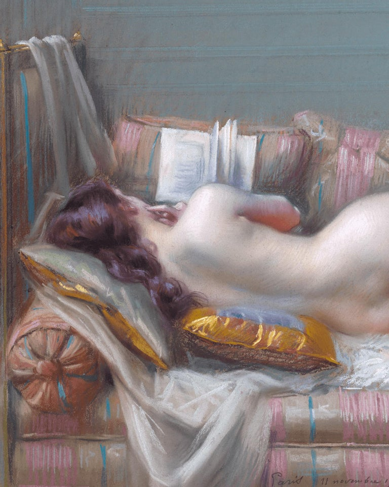Nu Allongé (Lying Nude) - Academic Painting by Delphin Enjolras