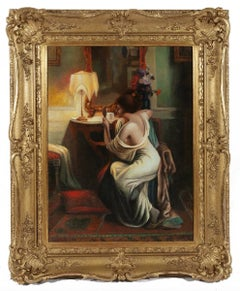 Oil Painting 'Lady in Boudoir' by Delphin Enjolras (French)