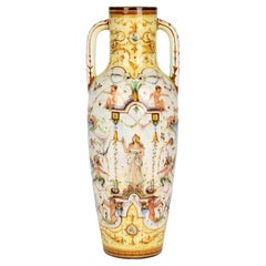 Delphin Massier French Vallauris Twin Handled Majolica Vase with Figures
