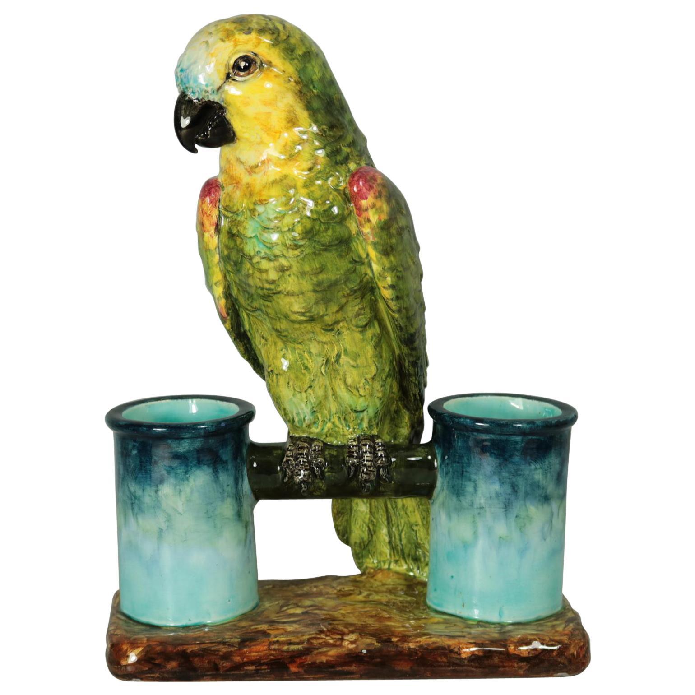 Delphin Massier Majolica Parrot Figural Vase