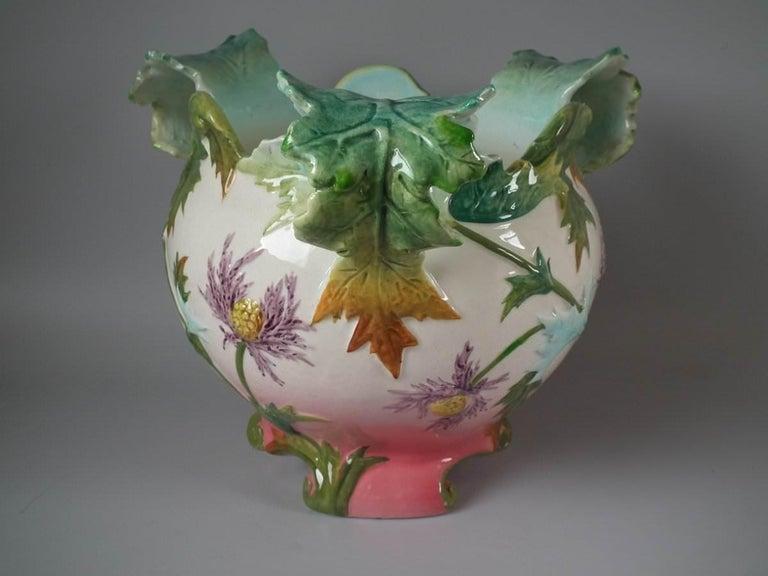 Art Nouveau Delphin Massier Majolica Thistle Jardinière For Sale