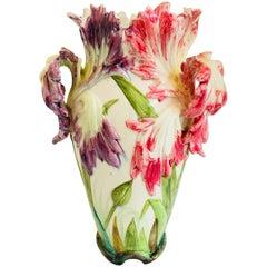 Delphin Massier Vallauris Parrot Tulip Vase