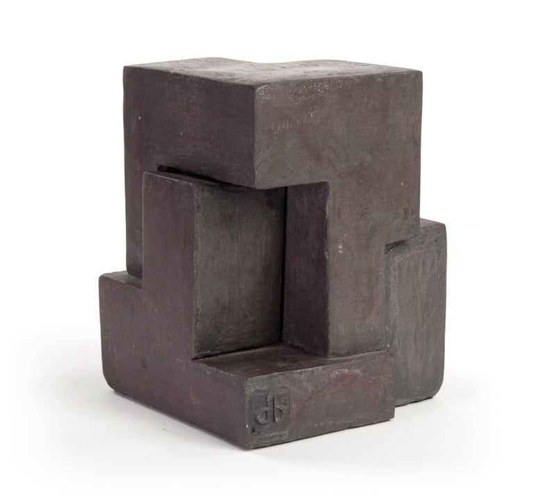 Delphine Brabant Abstract Sculpture - Block IX, Abstract Terracotta Sculpture