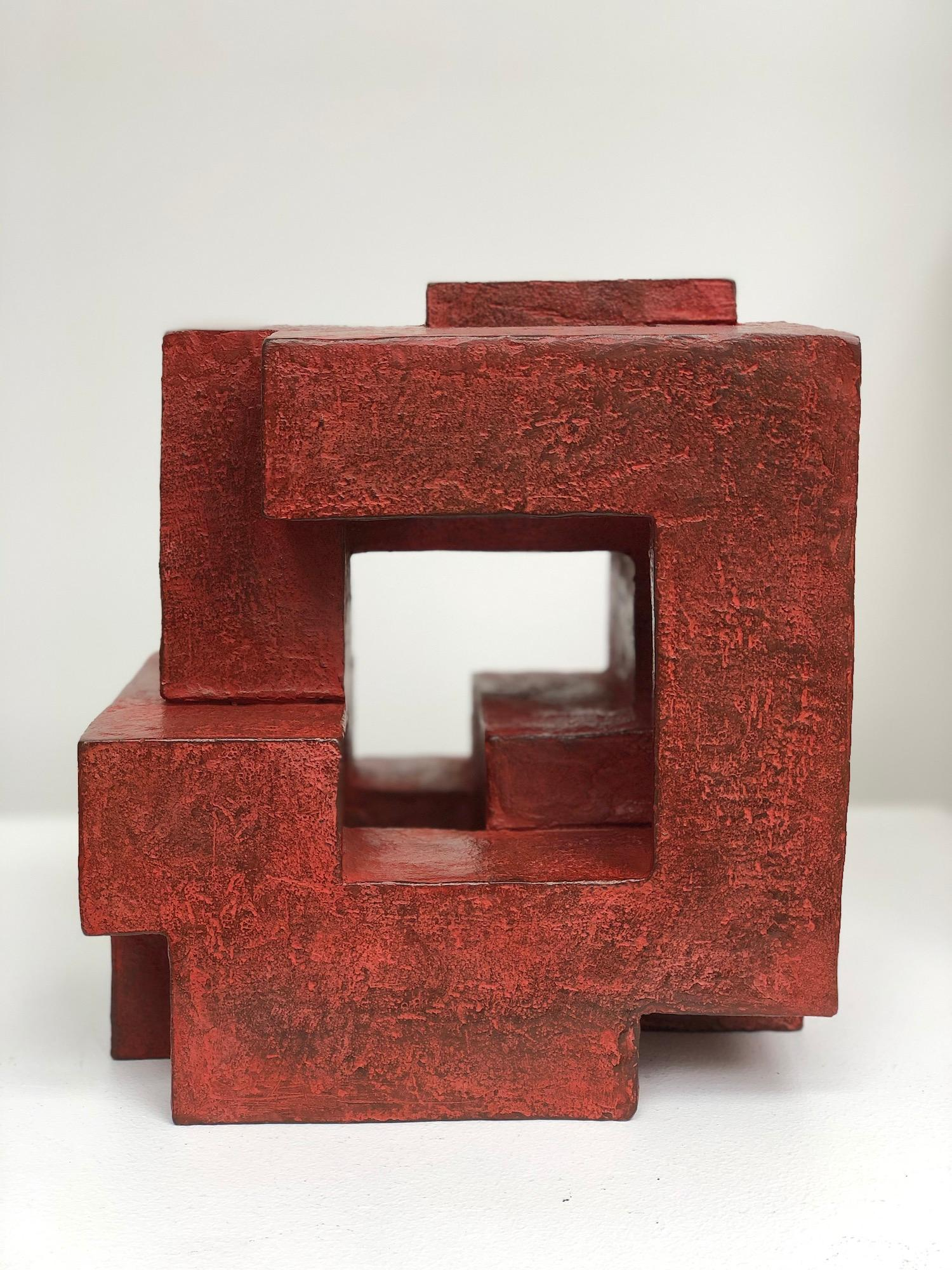 Block VIII by Delphine Brabant - Abstract Bronze Sculpture, Geometric