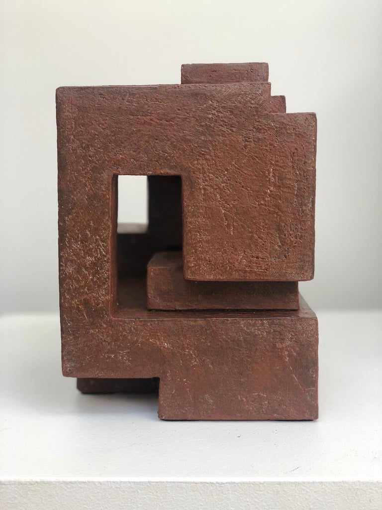Block VIII by Delphine Brabant - Abstract Terracotta Sculpture, Geometric For Sale 1