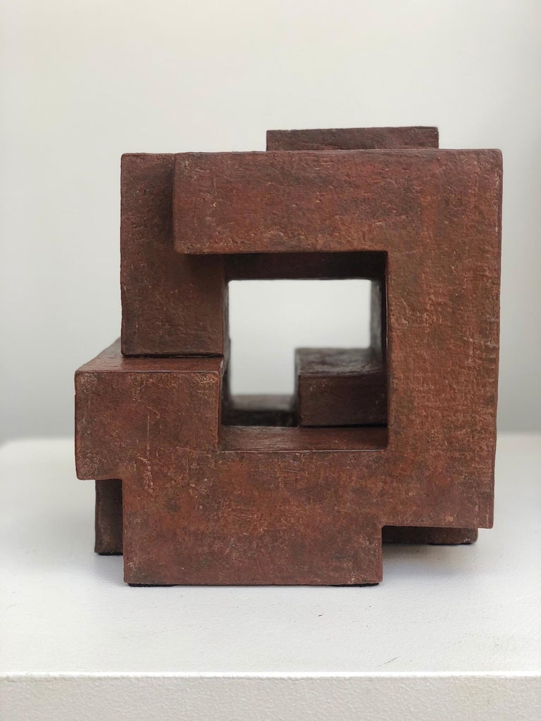 Block VIII by Delphine Brabant - Abstract Terracotta Sculpture, Geometric For Sale 2