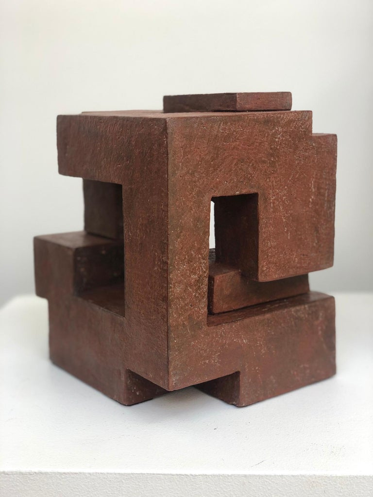 Block VIII by Delphine Brabant - Abstract Terracotta Sculpture, Geometric For Sale 3
