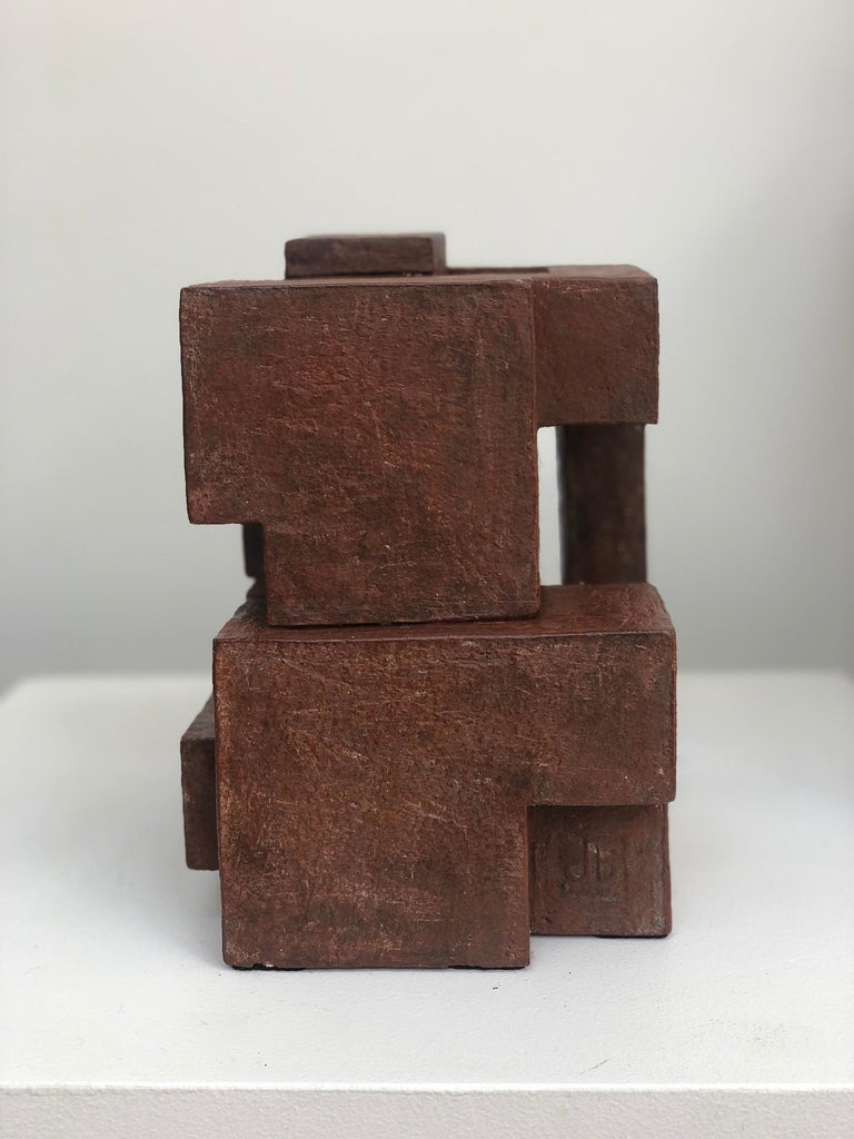 Block VIII by Delphine Brabant - Abstract Terracotta Sculpture, Geometric For Sale 4