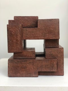 Block VIII by Delphine Brabant - Abstract Terracotta Sculpture, Geometric