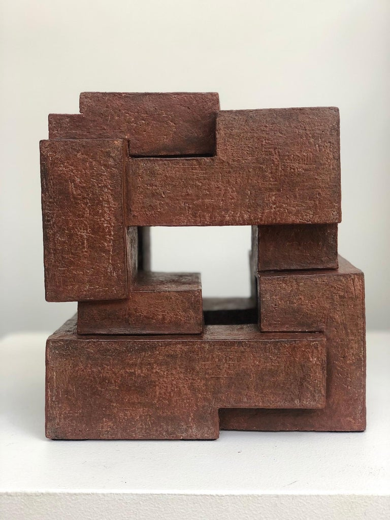 """Block VIII, Terracotta is a one-off sculpture by French contemporary artist Delphine Brabant from the series """"Architecture"""". 23 cm × 20 cm × 16 cm. In this series, the artist designs geometric shapes bringing together different volumes and right"""