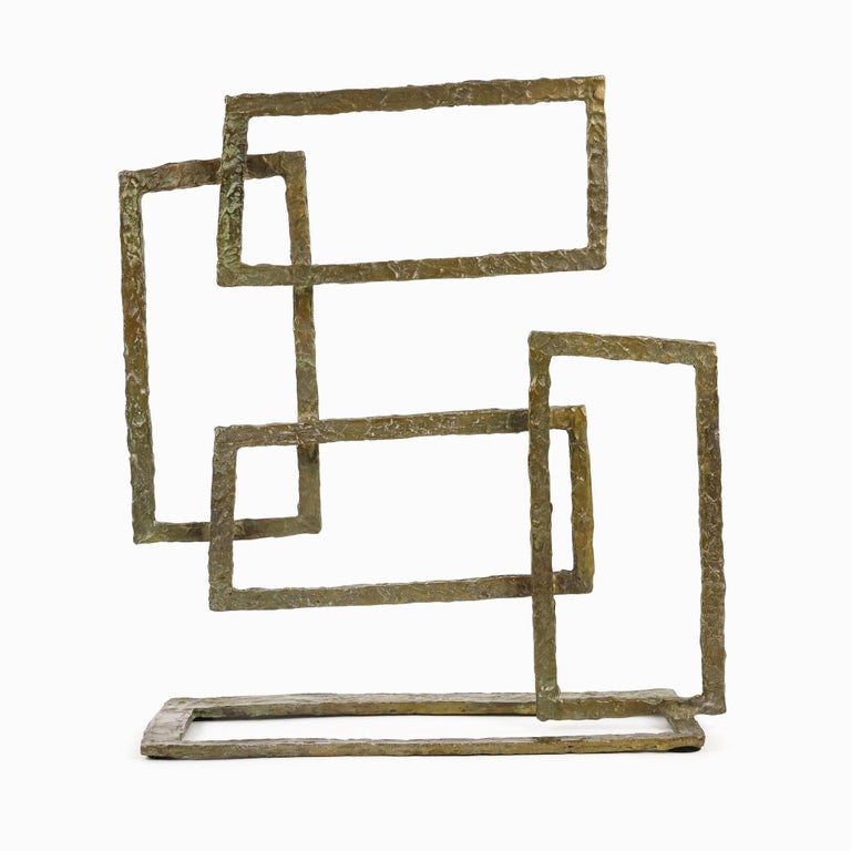 Composition V  is a limited-edition bronze sculpture by contemporary artist Delphine Brabant. In this series the artist is playing on the lines and the shapes, rectangular or square, giving depth to the compositions. The negatives borne out closed