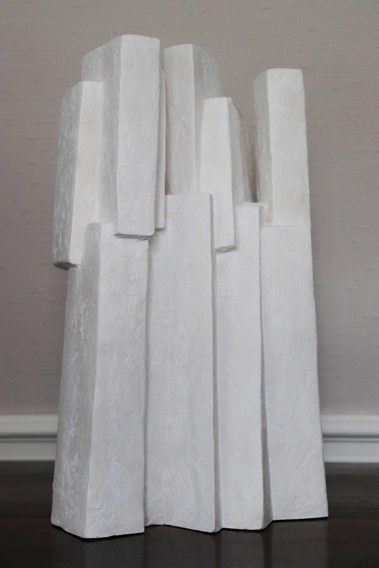 Ensemble III (Geometric Sculpture, Resin) - Gray Abstract Sculpture by Delphine Brabant
