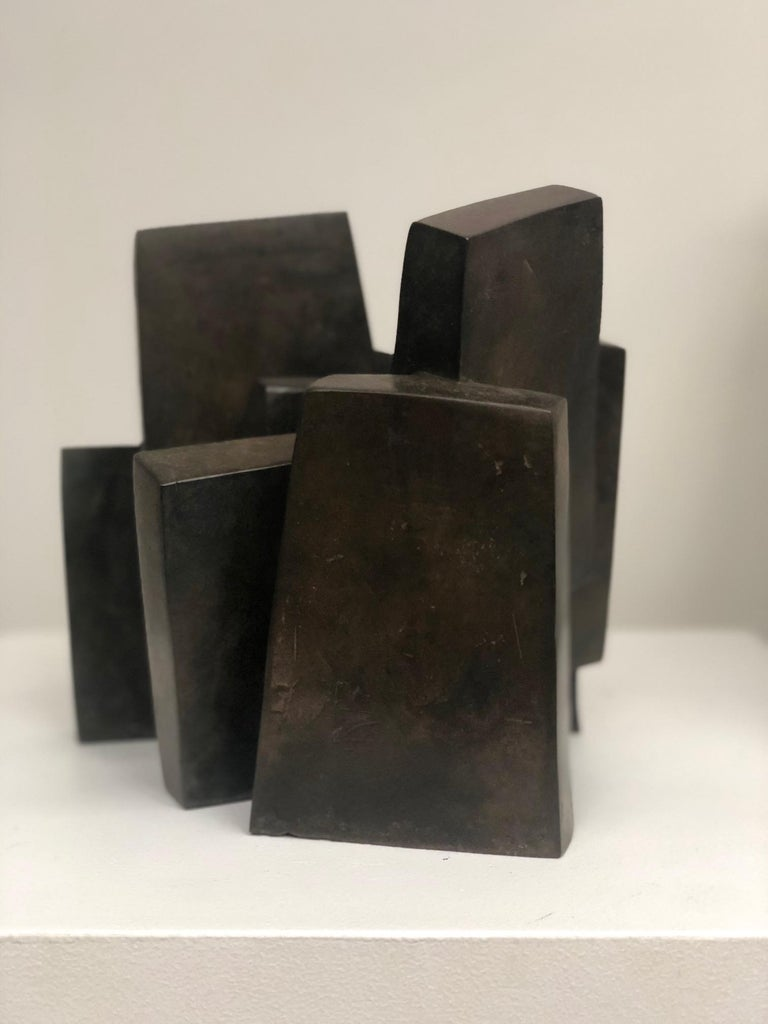 Suspension, Abstract Geometric Bronze Sculpture For Sale 2
