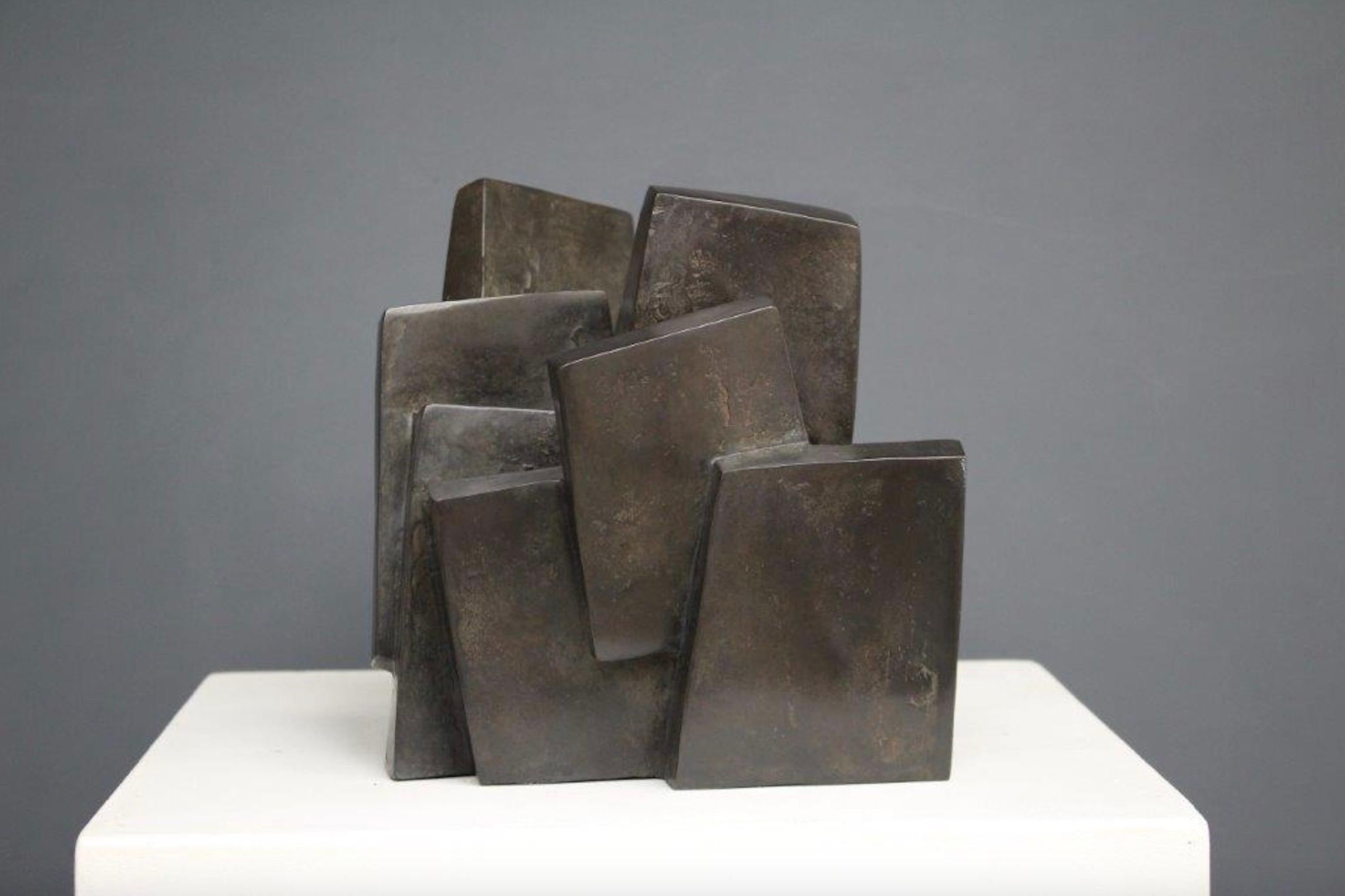 Suspension, Abstract Geometric Bronze Sculpture