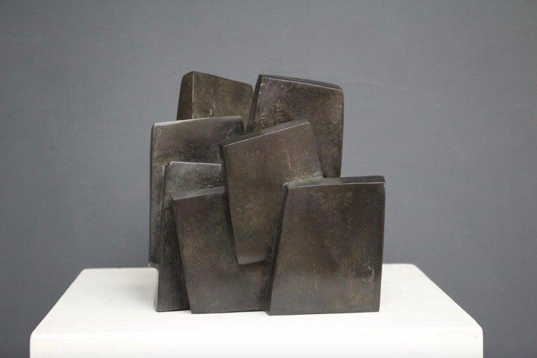 Delphine Brabant Abstract Sculpture - Suspension, Abstract Geometric Bronze Sculpture