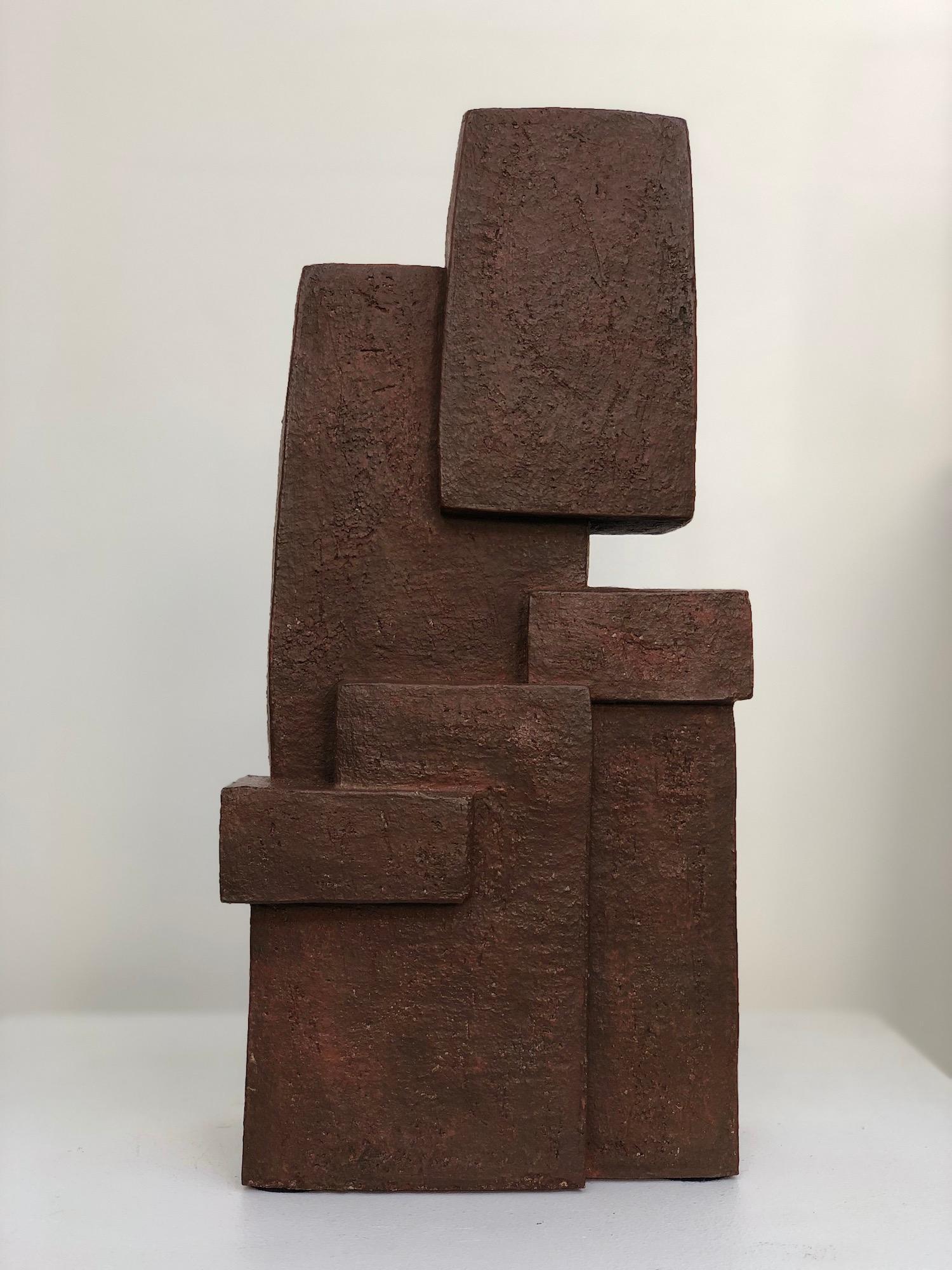 Unity IV, Delphine Brabant - abstract geometric sculpture, terracotta