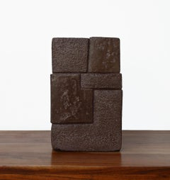 Unity V by Delphine Brabant - abstract geometric sculpture, terracotta