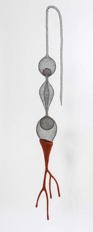 """""""Being"""", Handmade Metal Mesh & Dark Orange Wool Pendant Mural Airy Sculpture"""