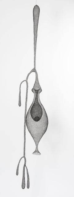 """""""Cocoon I"""", Hand Knitted Metal Mesh Transparent Airy Pendant Sculpture"""