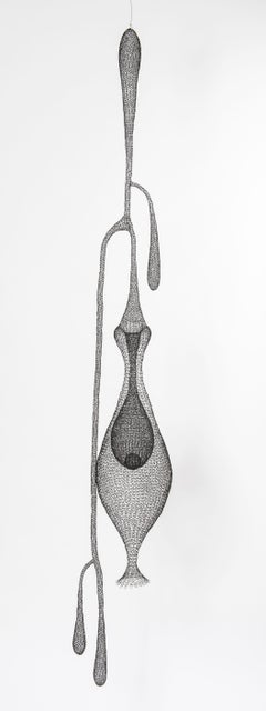 """""""Cocoon II"""", Hand Knitted Metal Mesh Transparent Airy Pendant Sculpture"""