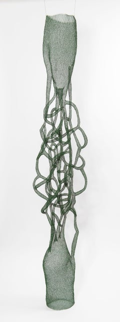 """""""In Between"""", Hand Knitted Airy Metal Transparent Green Pendant Tall Sculpture"""
