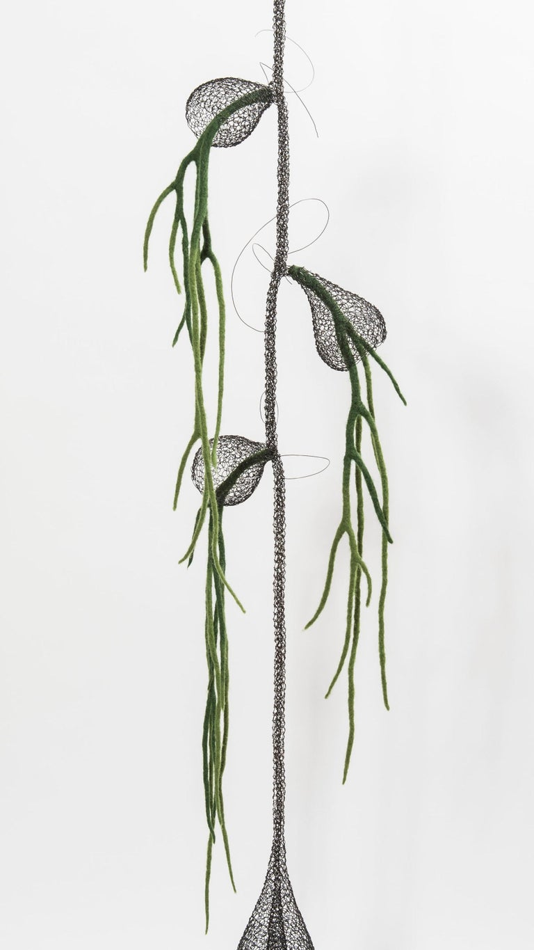 «Liane I», Handmade Metal Wire Mesh and Green Wool Pendant Mural Sculpture - Black Abstract Sculpture by Delphine Grandvaux
