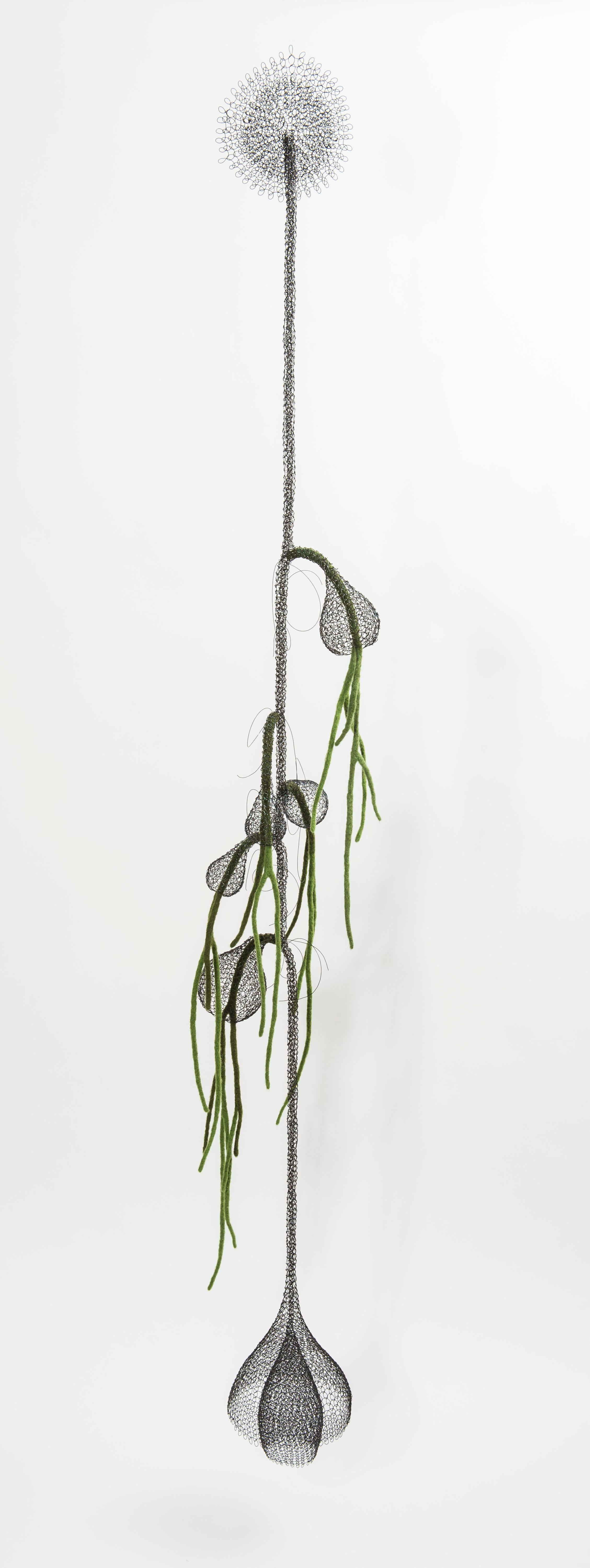 «Liane II», Handmade Metal Wire Mesh and Green Wool Pendant Mural Sculpture