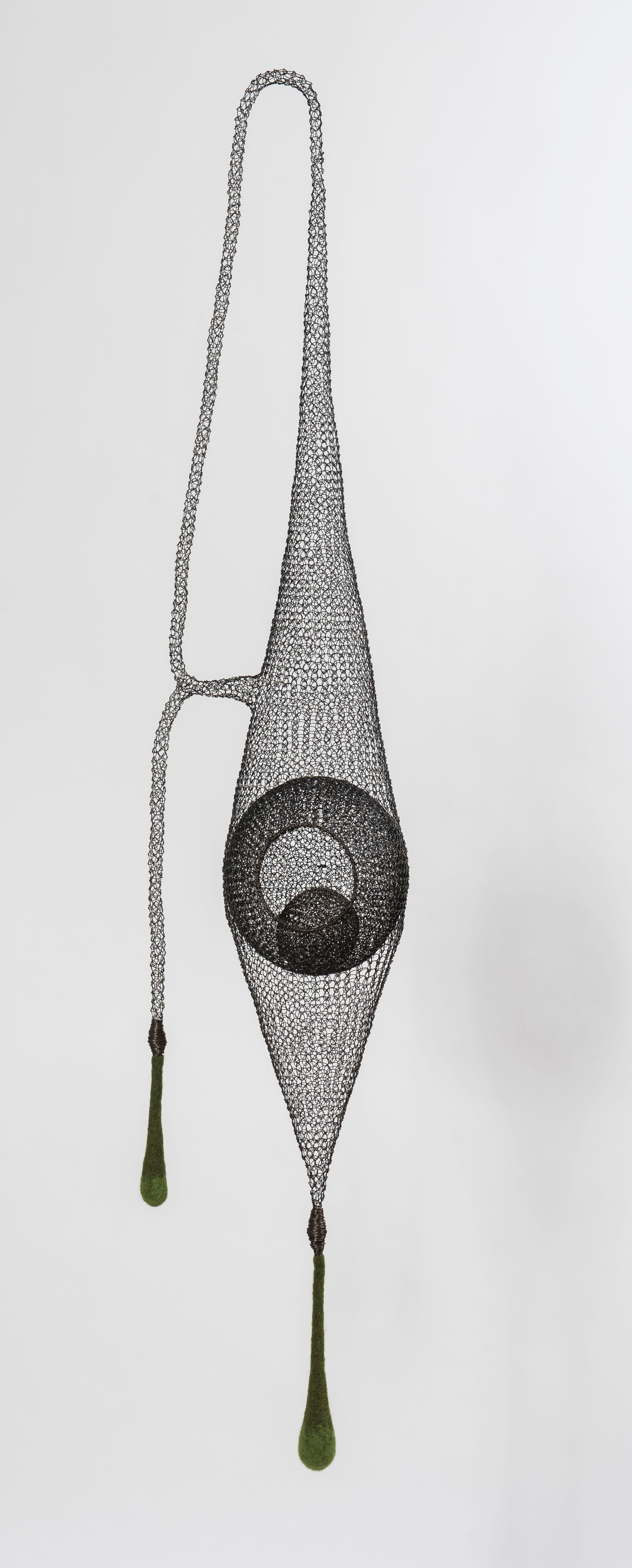 """Safe Harbor II"", Airy Handmade Metal Mesh and Green Wool Pendant Sculpture"