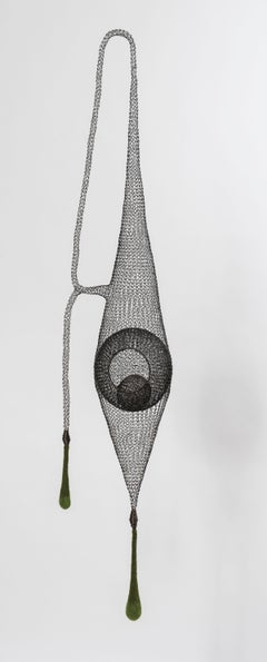 """Safe Harbor II"", Airy Handmade Metal Mesh and Green Wool Pendant Sculpture"