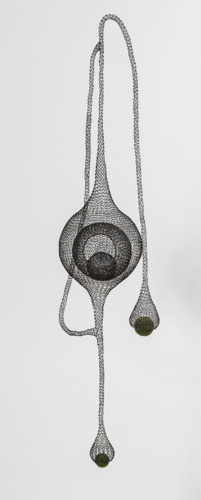 "Delphine Grandvaux Figurative Sculpture - ""Safe Harbor III"", Handmade Metal Mesh and Green Wool Pendant Mural Sculpture"