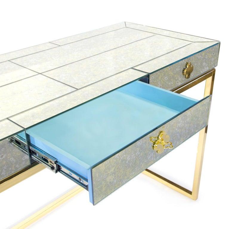 Modern Delphine Mirrored Desk For Sale