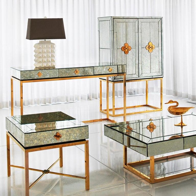 Contemporary Delphine Mirrored Desk For Sale