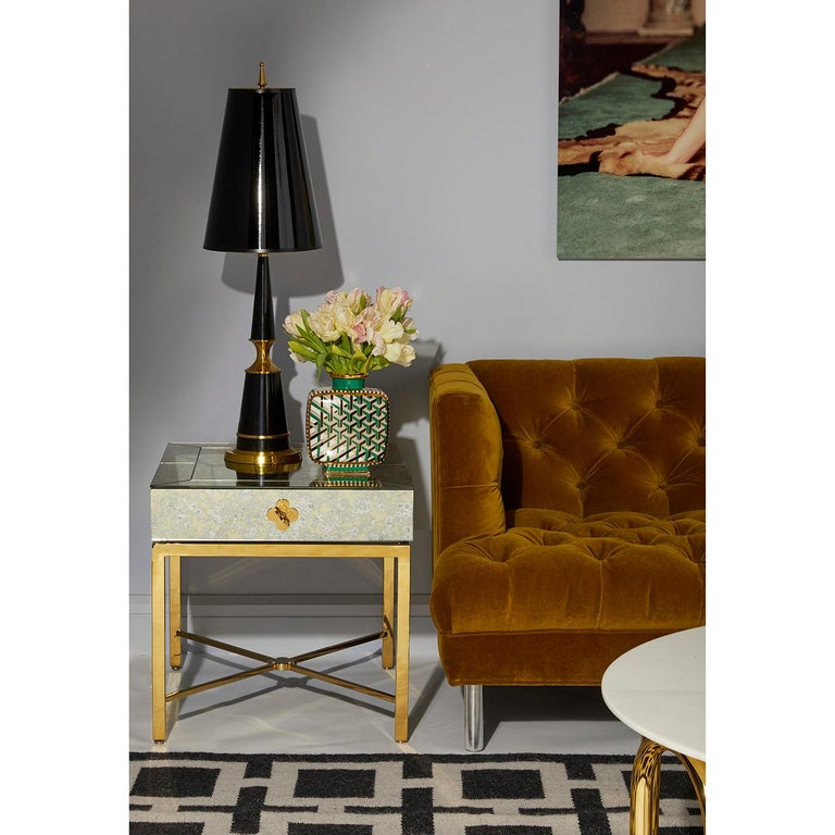Contemporary Delphine Mirrored Side Table For Sale